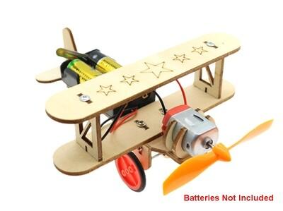 Integy Wooden DIY Education Battery Powered Toy Plane Model C29905