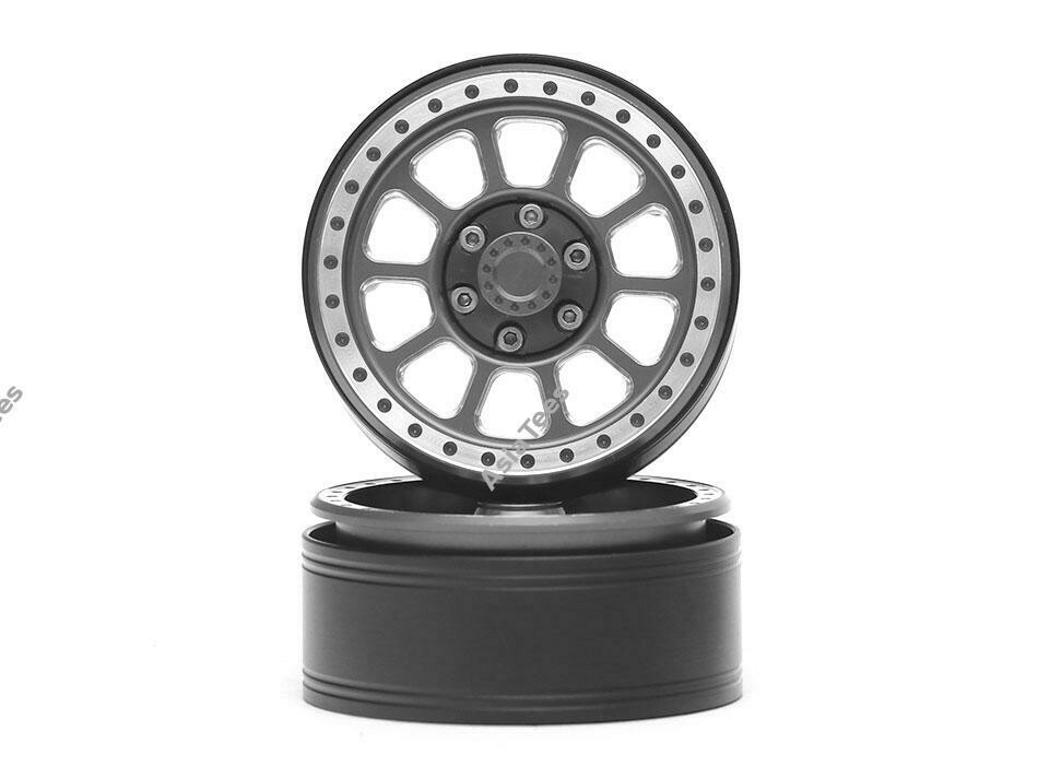 "Team Raffee Co. 1.9"" Aluminum Beadlock Wheels 10 Spoke (2) Gun Metal TRC/302753GM"