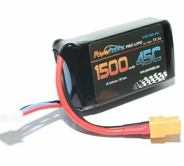 Powerhobby 3S 11.1V 1500mAh 45C Lipo Battery with XT60 Connector 3-Cell PH-3S-1500MAH-45C-XT60