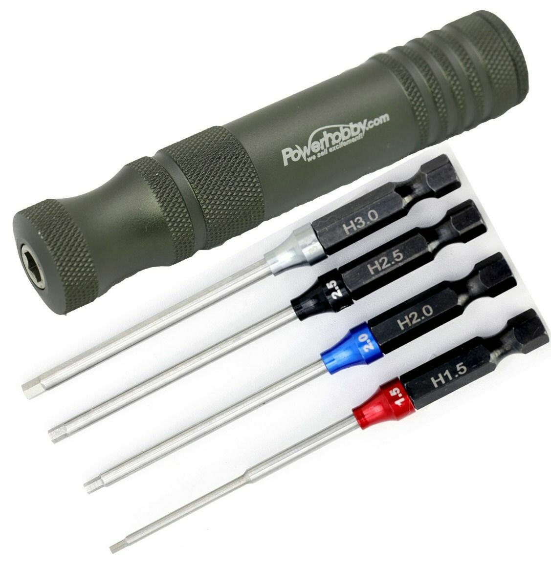 "Powerhobby Hex Tip Driver w/Handle 1/4"" Tool Set Metric 1.5, 2.0, 2.5, 3.0 mm PHT007"