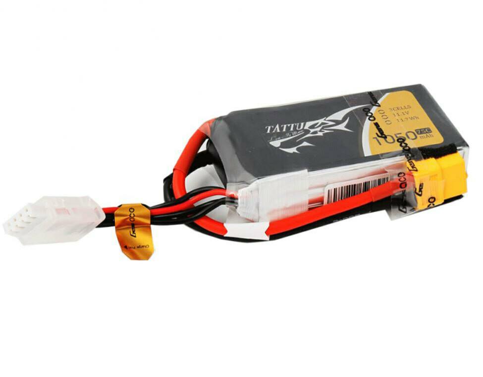 Tattu 1050mAh 11.1V 75C 3S1P Lipo Battery Pack with XT60 Plug TAA10503S75X6
