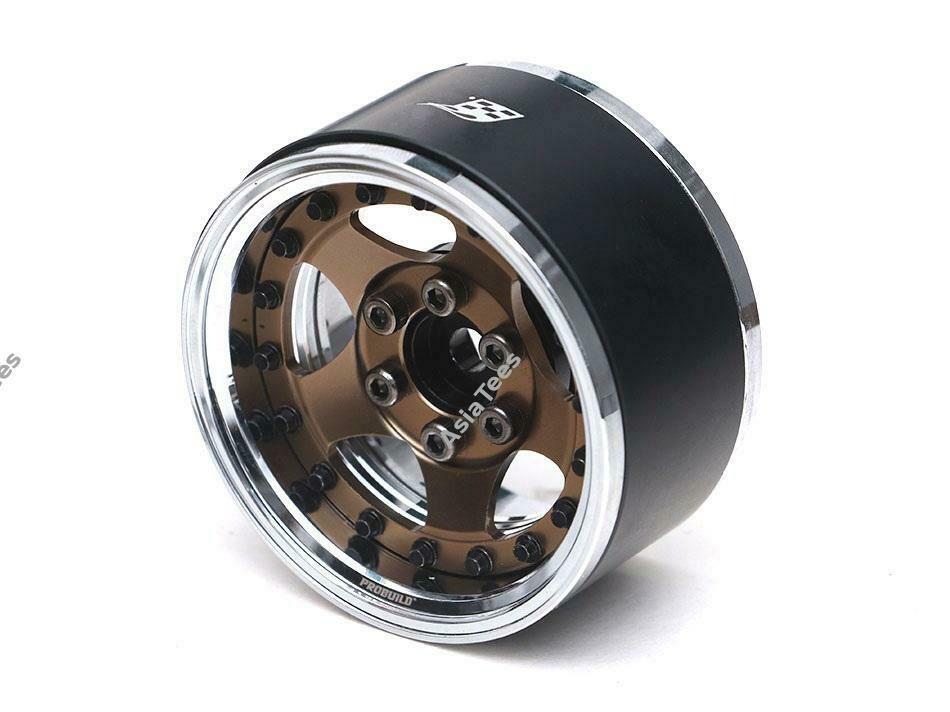 "Boom Racing ProBuild™ 1.9"" SV5 Adjustable Offset Aluminum Beadlock Wheels (2) Chrome/Bronze BRPB001CRBZ"