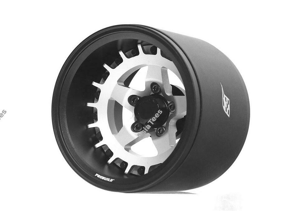 "Boom Racing ProBuild™ 1.9"" Extra Wide SS5 Adjustable Offset Aluminum Beadlock Wheels (2) Matte Black/Flat Silver BRPB018BKRS-EW"