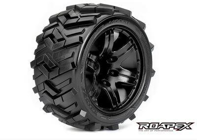 Roapex Morph 1/10 Stadium Truck Tires, Mounted on Black Wheels, 0 Offset, 12mm Hex (1 pair) ROPR2004