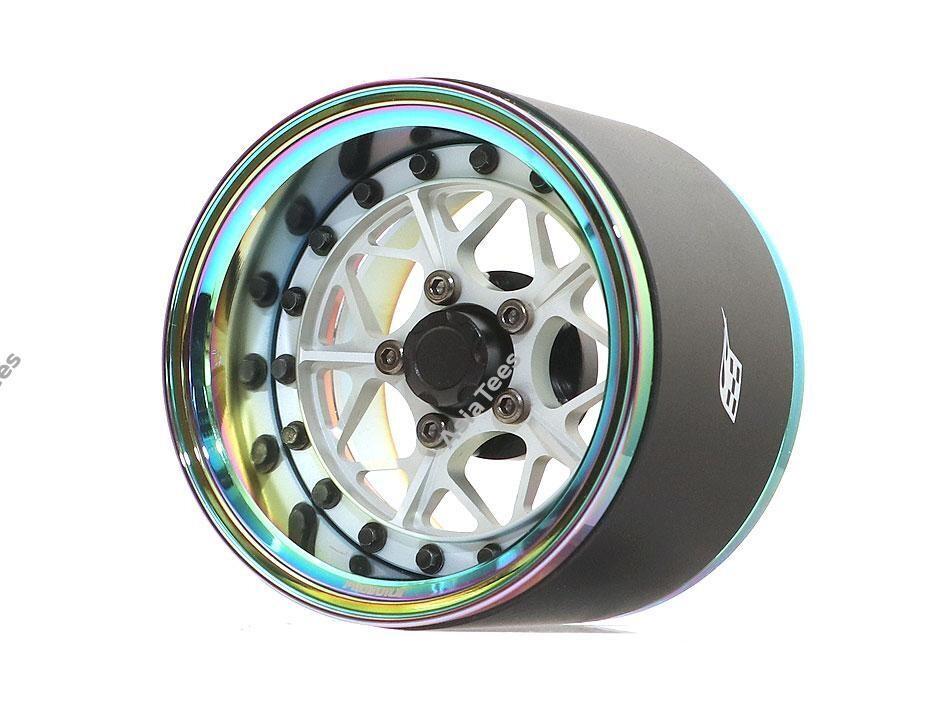 "Boom Racing ProBuild™ 1.9"" Extra Wide LGB Adjustable Offset Aluminum Beadlock Wheels (2) Neo Chrome/Flat Silver BRPB024NEORS-EW"