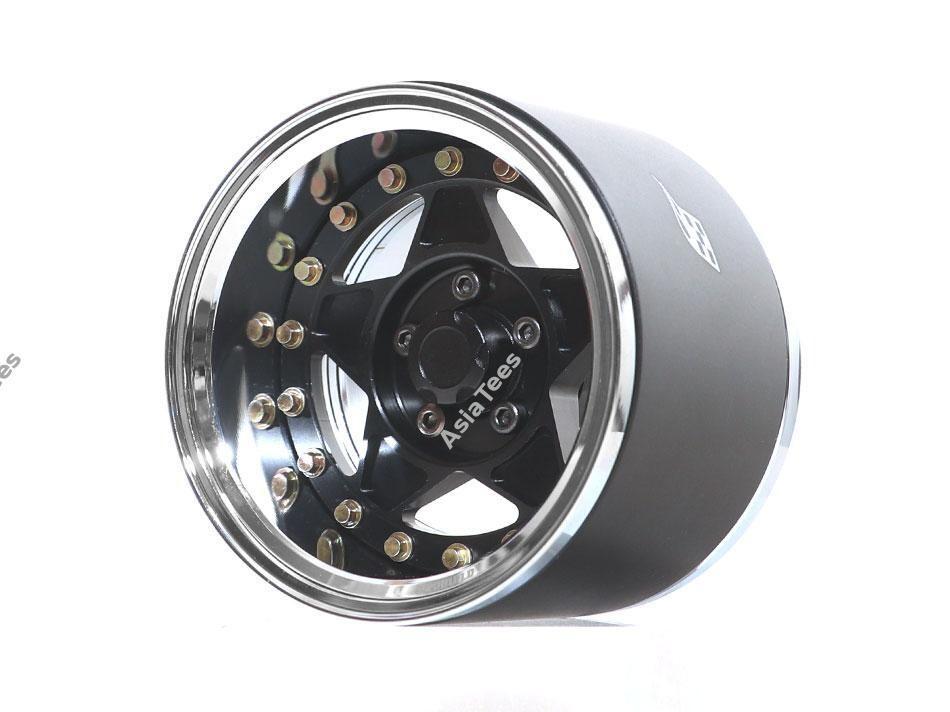 "Boom Racing ProBuild™ 1.9"" Extra Wide RTS Adjustable Offset Aluminum Beadlock Wheels (2) Chrome/Black BRPB023CRBK-EW"