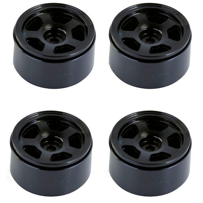 "Powerhobby 1.0"" Beadlock Aluminum 1/24 scale Crawler Wheel Rim (Black) PHSCX2451-Black"