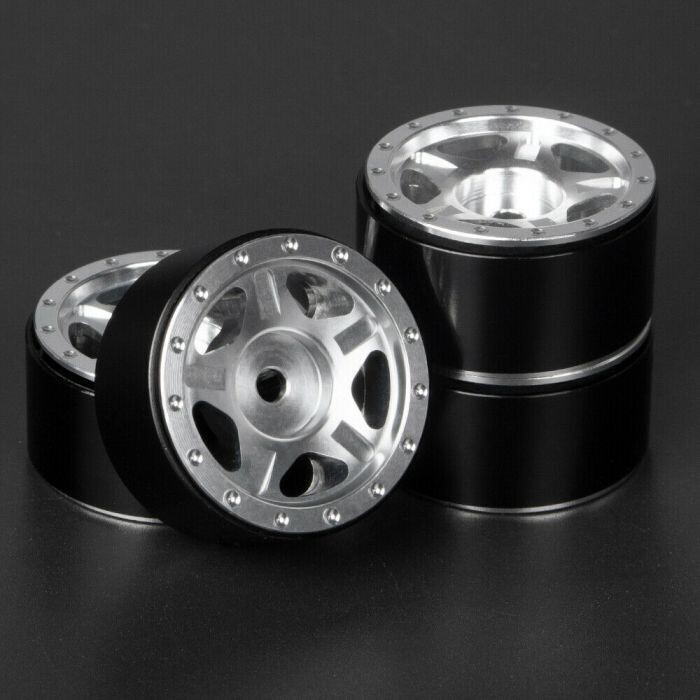 "Powerhobby 1.0"" Aluminum Beadlock Rim Wheels 4pc Silver PHSCX2409-Silver"
