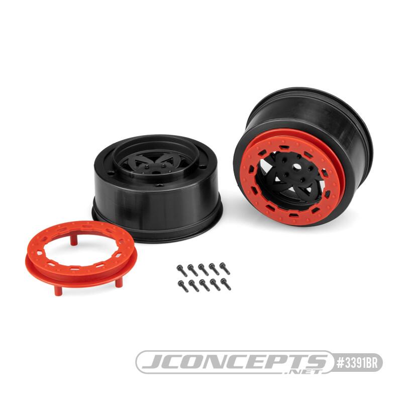 JConcepts Tremor, Slash Rear, Slash 4x4 F&R Wheel - Black Wheel / Red Beadlock - 2pc. JCO3391BR