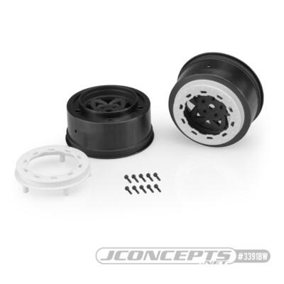 JConcepts Tremor, Slash Rear, Slash 4x4 F&R Wheel - Black Wheel / White Beadlock - 2pc. JCO3391BW