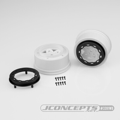JConcepts Tremor, Slash rear, Slash 4x4 F&R Wheel - White Wheel / Black Beadlock - 2pc. JCO3391WB