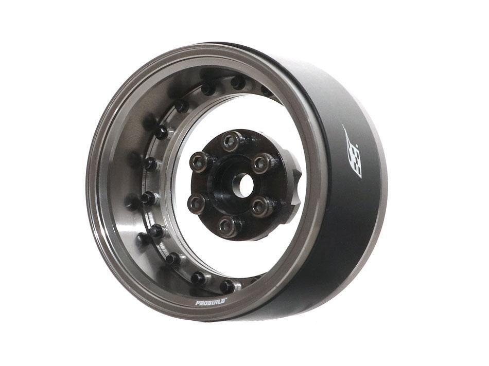 "Boom Racing ProBuild™ 1.9"" Acrylic XT6 Adjustable Offset Beadlock Wheels (2) Gun Metal /Clear BRPB025GMA"