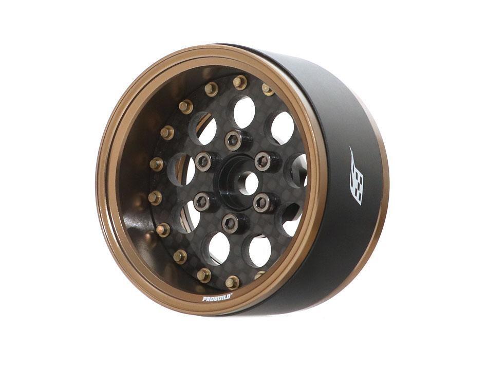 "Boom Racing ProBuild™ 1.9"" CR6 Adjustable Offset Aluminum Beadlock Wheels (2) Bronze /Carbon Fiber BRPB036BZCF"