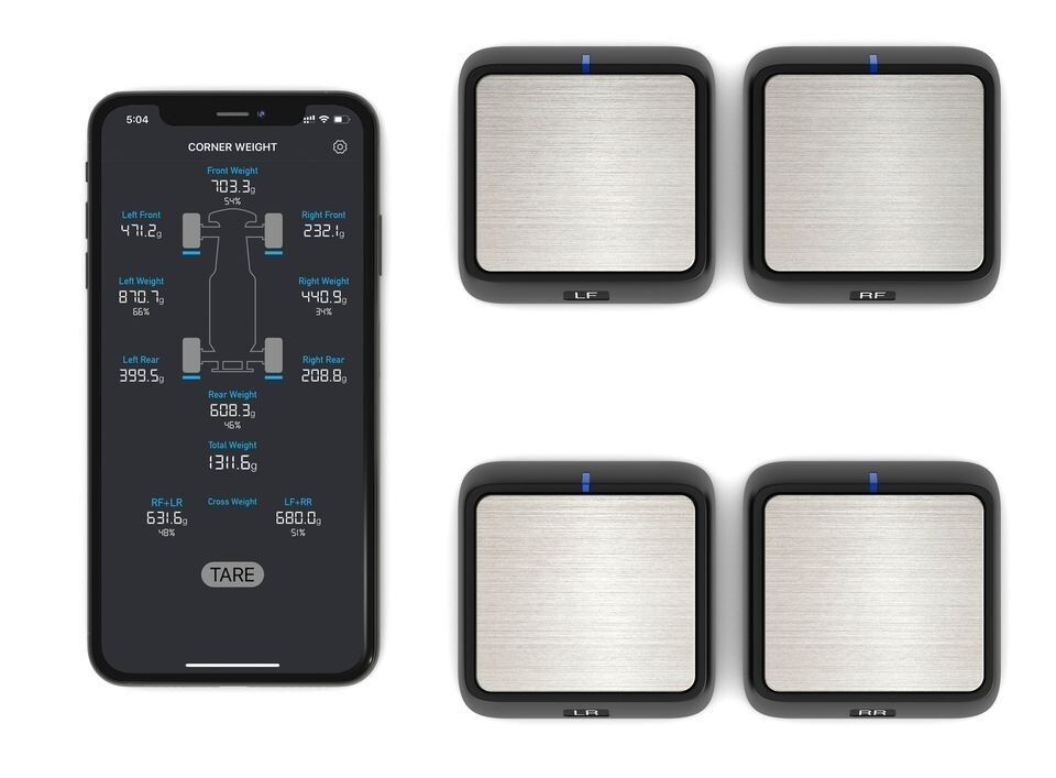 Powerhobby SCWS2000 Bluetooth RC Corner Weight Scale System w/ 4 Scales PHCWS
