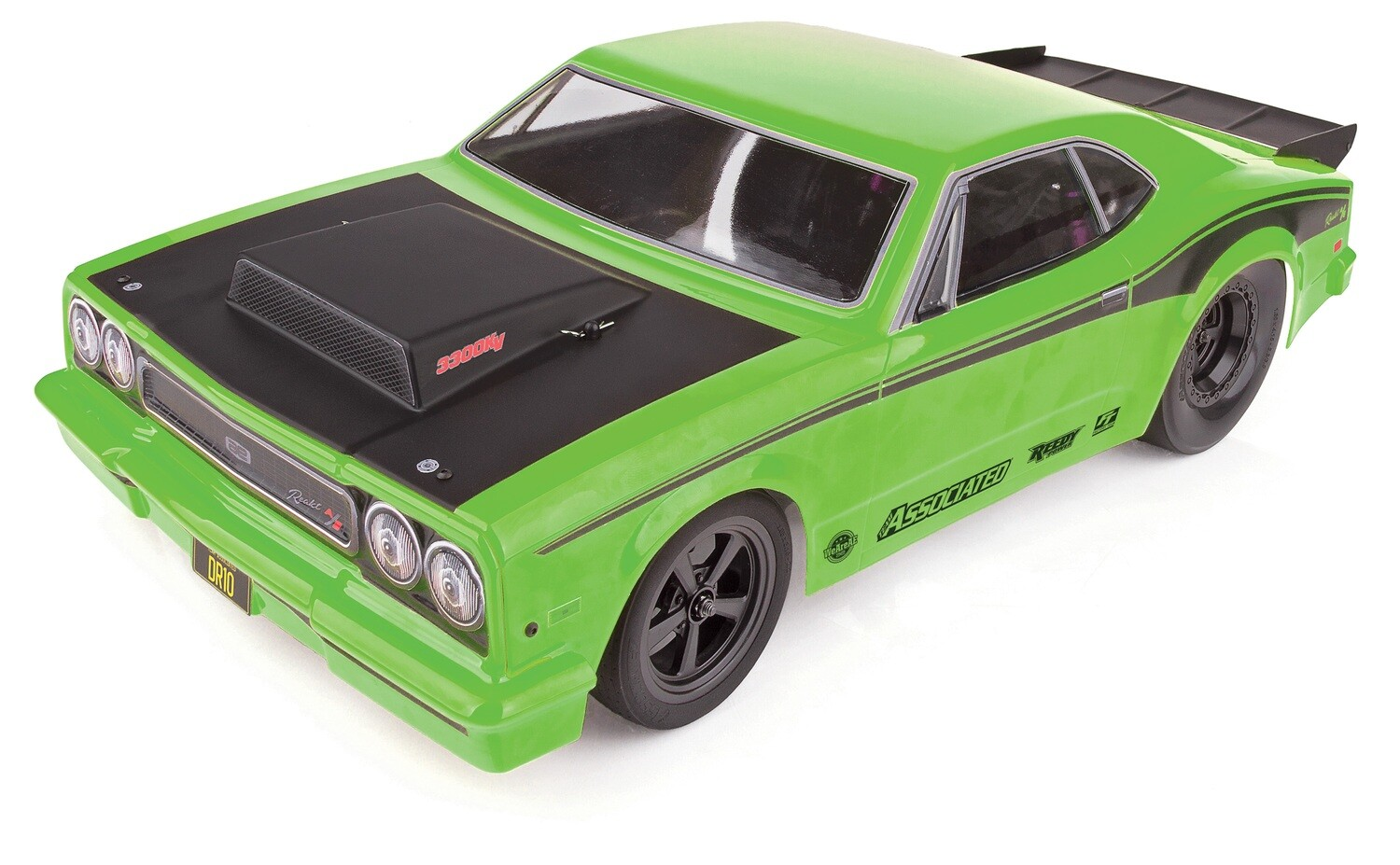 Associated DR10 Drag Race Car, 1/10 Brushless 2WD RTR, Green