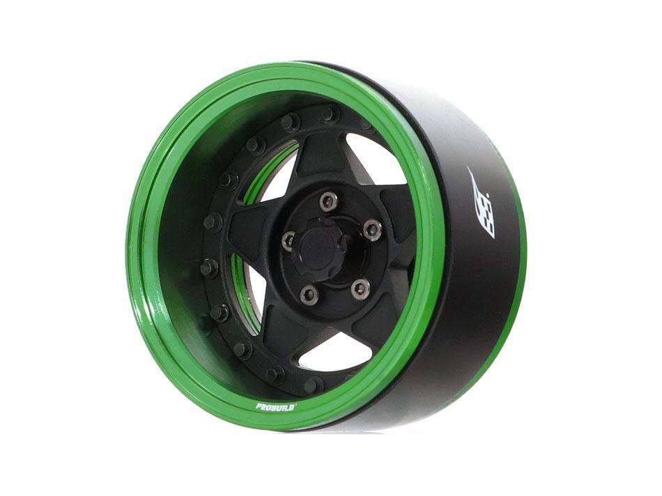 "Boom Racing ProBuild™ 1.9"" RTS Adjustable Offset Aluminum Beadlock Wheels (2) Green/Matte Black BRPB030GMBK"