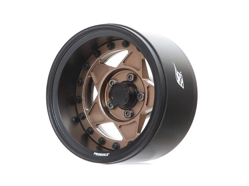 "Boom Racing ProBuild™ 1.9"" RTS Adjustable Offset Aluminum Beadlock Wheels (2) Matte Black/Matte Bronze BRPB029MBKMBZ"