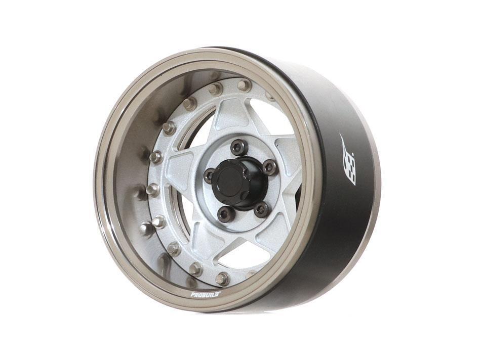 "Boom Racing ProBuild™ 1.9"" RTS Adjustable Offset Aluminum Beadlock Wheels (2) Gun Metal/Matte Silver BRPB039GMMS"