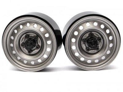 "Boom Racing 1.9"" 16-Hole Classic Steelie Reversible Beadlock Wheel w/ XT504 Hub Front (2) Gun Metal BRW780919FGM"