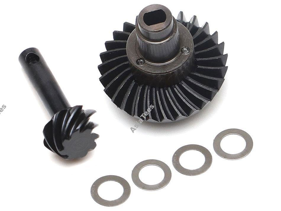 Boom Racing Heavy Duty Keyed Bevel Helical Overdrive Gear 27/8T + Differential Locker Set for AR44 Axle for Axial SCX10 II BR955029