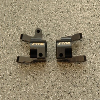 STRC CNC Machined Brass Front C-Hub (1 pair) for Axial SCX10 II (Black)