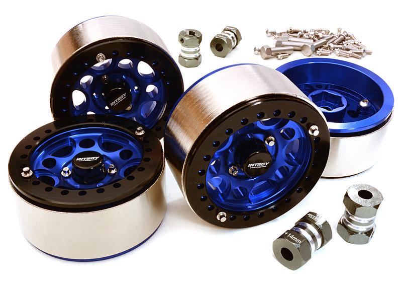 Integy 1.9 Machined High Mass Wheel (4) w14mm Spacers (Blue) C27030Blue