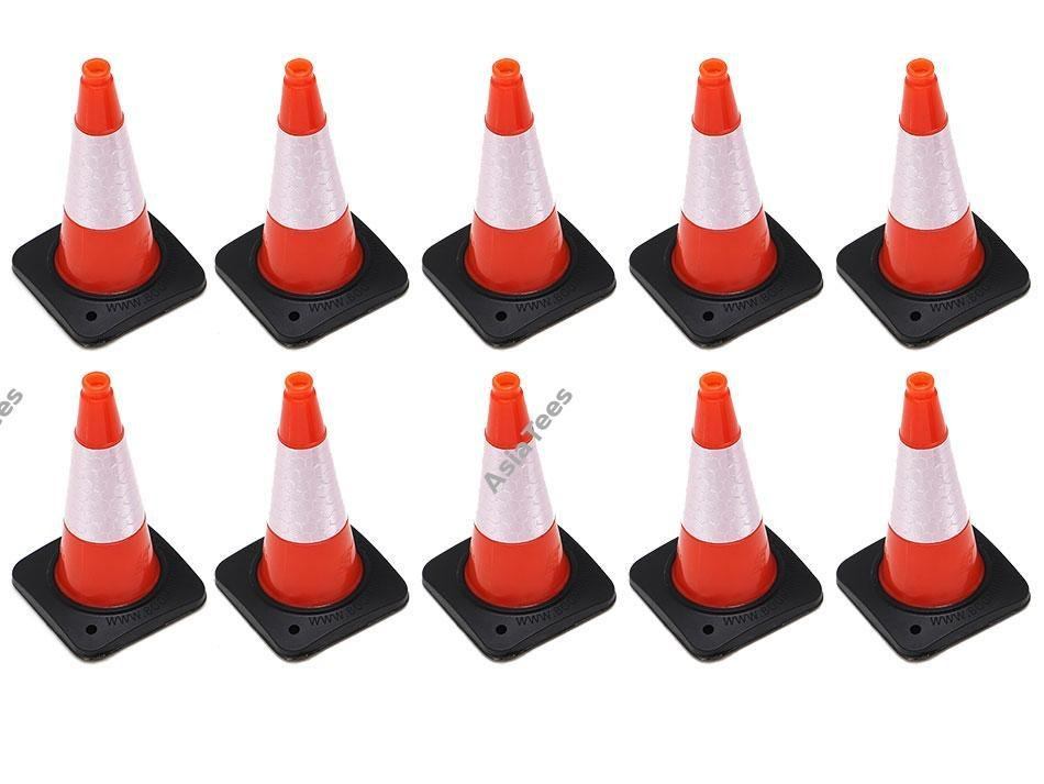 Boom Racing Rubber Traffic Cone w/ Reflective Decal (10) for Trail Marker Orange BRSCAC301OR