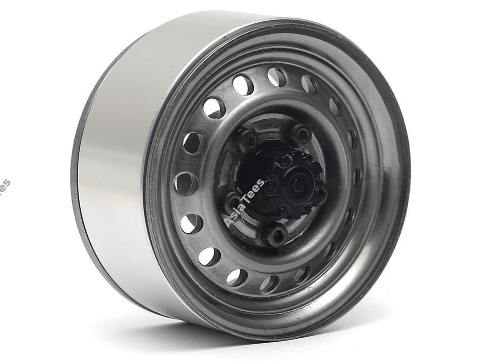 "Boom Racing 1.55"" 16-Hole Classic Steelie Reversible Beadlock Wheels (Front) w/ XT504 Hubs Gun Metal BRW780955FGM"