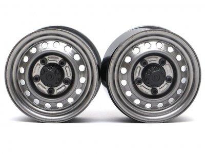 "Boom Racing 1.55"" 16-Hole Classic Steelie Reversible Beadlock Wheels (Rear) w/ XT504 Hubs (2) Gun Metal BRW780955RGM"