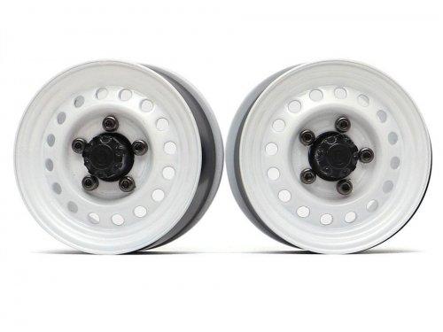"Boom Racing 1.55"" 16-Hole Classic Steelie Reversible Beadlock Wheels (Front) w/ XT500 Hubs White BRW780955FW"