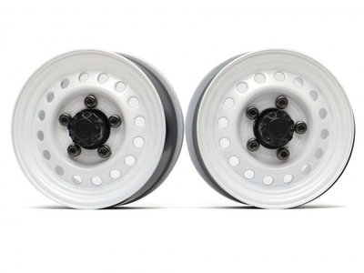 "Boom Racing 1.55"" 16-Hole Classic Steelie Reversible Beadlock Wheels (Front) w/ XT500 Hubs White BRW780955FW"