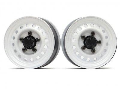"Boom Racing 1.55"" 16-Hole Classic Steelie Reversible Beadlock Wheels (Rear) w/ XT500 Hubs White BRW780955RW"