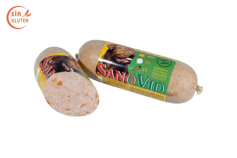 Sanovid (pollo, arroz y zanahoria), salchicha 600 gr. en caja de 10 ud.