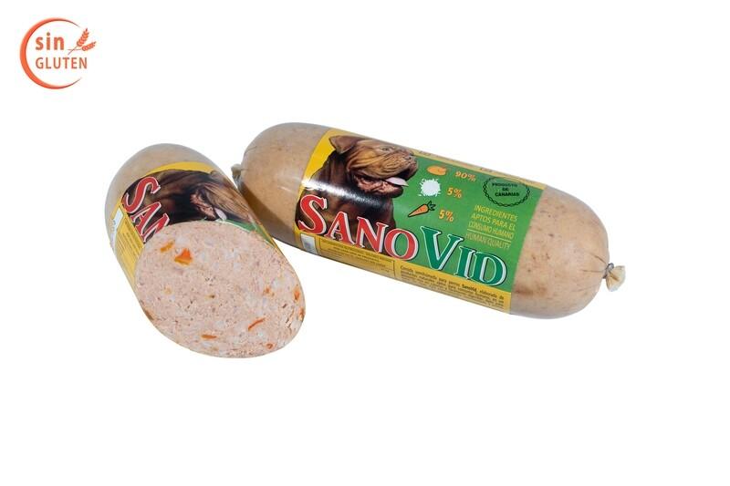 Sanovid  (Pollo, arroz y zanahoria), salchicha 600 gr. en caja de 20 ud.
