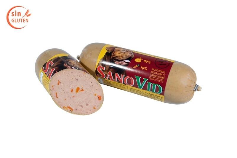 Sanovid (pollo y zanahoria), salchicha 600 gr. en caja de 20 ud.