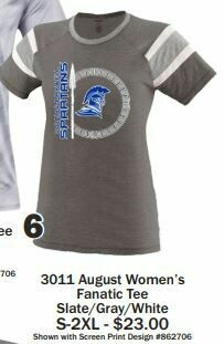 6.) 3011 August Women's Fanatic Tee Slate/Gray/White