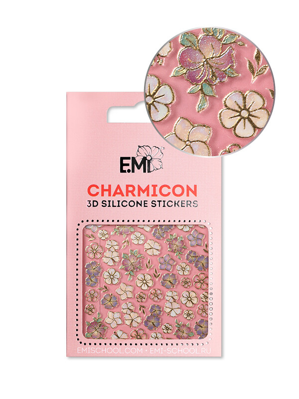 Charmicon 3D Silicone Stickers №134 Цветы MIX