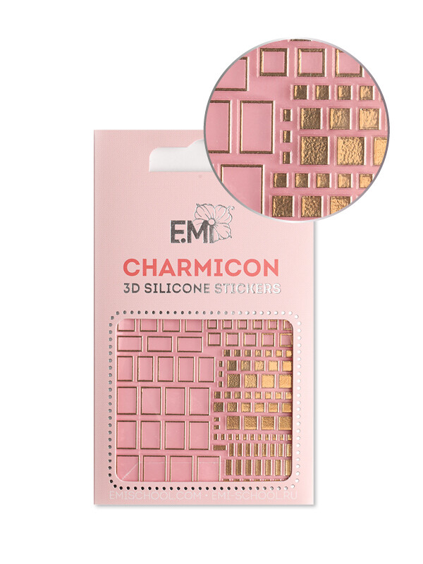 Charmicon 3D Silicone Stickers №158 Квадраты золото