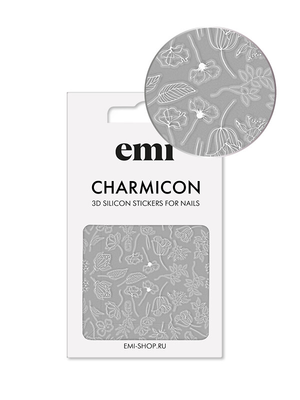 Charmicon 3D Silicone Stickers №177 Цветы белые