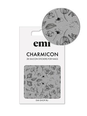 Charmicon 3D Silicone Stickers №176 Цветы черные