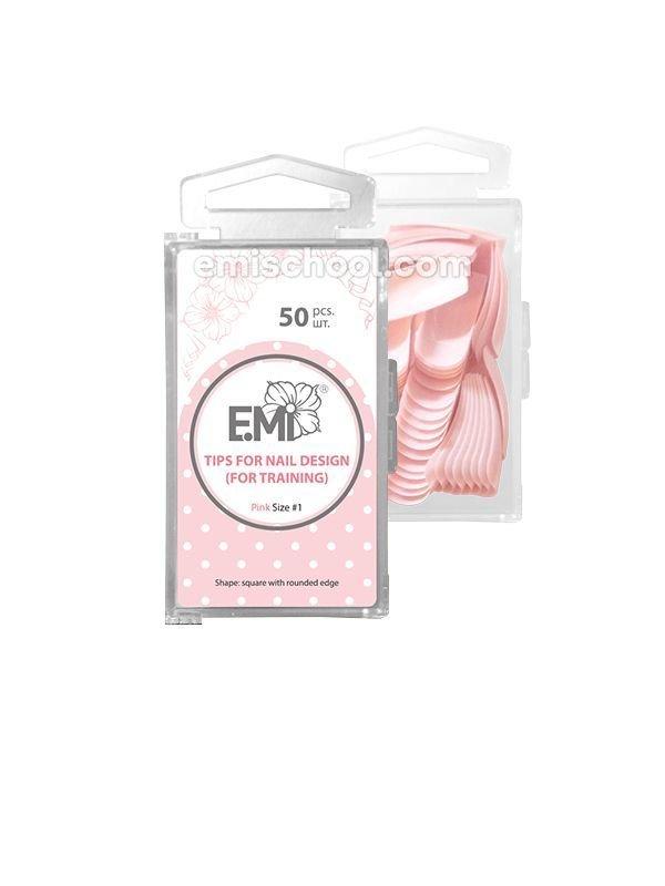 Розовые тренировочные типсы для дизайна ногтей