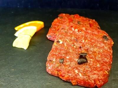 Burger de Boeuf & porc - olives, tomates (environ 100gr.)