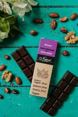 85% Dark chocolate with nuts and seeds شيكولاته دارك بالحبوب و المكسرات