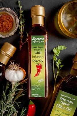 Cold-pressed Organic Chili Extra Virgin Olive Oil (250ml) زيت زيتون بالشطة عضوي عصرة أولى مضغوط على البارد