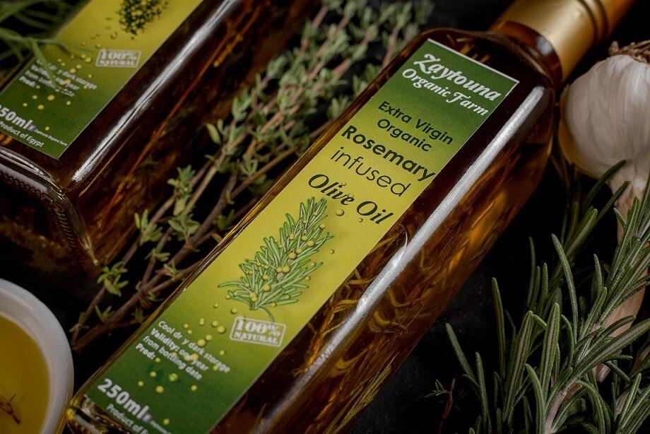 Cold-pressed Organic Rosemary Extra Virgin Olive Oil (250ml) زيت زيتون بالروزماري عضوي عصرة أولى مضغوط على البارد