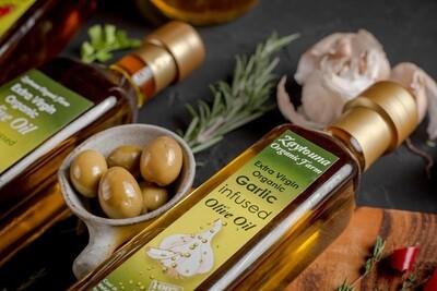 Cold-pressed Organic Garlic Extra Virgin Olive Oil (250ml) زيت زيتون بالثوم عضوي عصرة أولى مضغوط على البارد