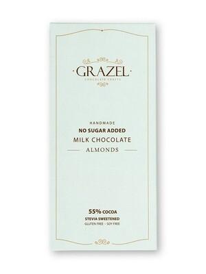 Stevia Milk Chocolate-Almond شوكولاته ميلك باللوز خالية من السكر