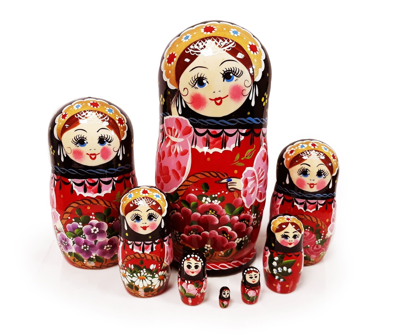 Матрёшка Семеновская «Корзина с цветами малиновая» авторская 8 кукол