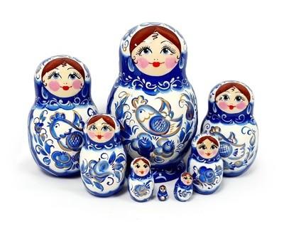 Матрёшка Семеновская авторская «Гжель» 8 кукол (15 см) (опт)