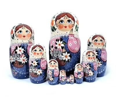 Матрёшка Семеновская «Кошка в лукошке» авторская 10 кукол (опт)